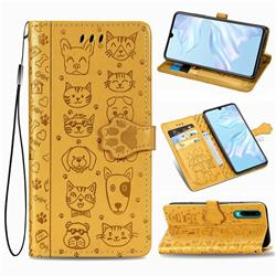 Embossing Dog Paw Kitten and Puppy Leather Wallet Case for Huawei P30 - Yellow