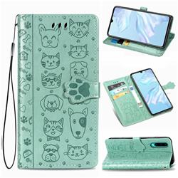 Embossing Dog Paw Kitten and Puppy Leather Wallet Case for Huawei P30 - Green