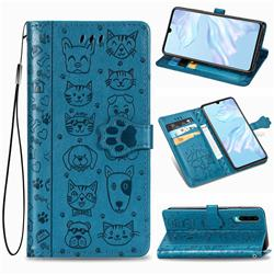 Embossing Dog Paw Kitten and Puppy Leather Wallet Case for Huawei P30 - Blue