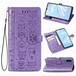 Embossing Dog Paw Kitten and Puppy Leather Wallet Case for Huawei P30 - Purple