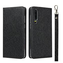 Ultra Slim Magnetic Automatic Suction Silk Lanyard Leather Flip Cover for Huawei P30 - Black