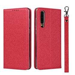 Ultra Slim Magnetic Automatic Suction Silk Lanyard Leather Flip Cover for Huawei P30 - Red