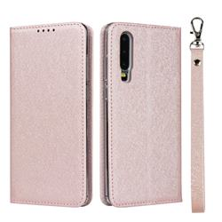 Ultra Slim Magnetic Automatic Suction Silk Lanyard Leather Flip Cover for Huawei P30 - Rose Gold