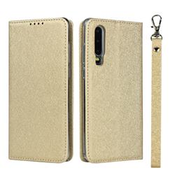 Ultra Slim Magnetic Automatic Suction Silk Lanyard Leather Flip Cover for Huawei P30 - Golden