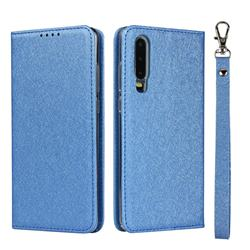 Ultra Slim Magnetic Automatic Suction Silk Lanyard Leather Flip Cover for Huawei P30 - Sky Blue