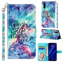 Blue Starry Sky 3D Leather Phone Holster Wallet Case for Huawei P30