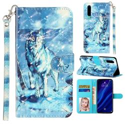Snow Wolf 3D Leather Phone Holster Wallet Case for Huawei P30