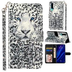 White Leopard 3D Leather Phone Holster Wallet Case for Huawei P30