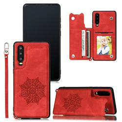 Luxury Mandala Multi-function Magnetic Card Slots Stand Leather Back Cover for Huawei P30 - Red