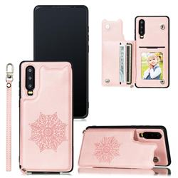 Luxury Mandala Multi-function Magnetic Card Slots Stand Leather Back Cover for Huawei P30 - Rose Gold