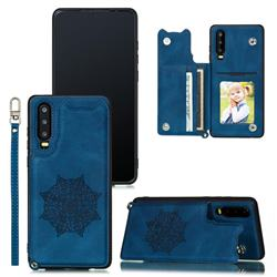 Luxury Mandala Multi-function Magnetic Card Slots Stand Leather Back Cover for Huawei P30 - Blue