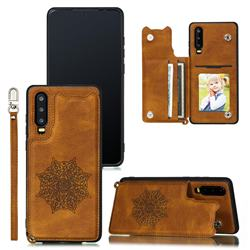 Luxury Mandala Multi-function Magnetic Card Slots Stand Leather Back Cover for Huawei P30 - Brown