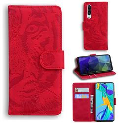 Intricate Embossing Tiger Face Leather Wallet Case for Huawei P30 - Red