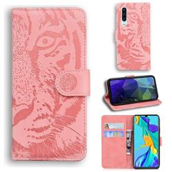 Intricate Embossing Tiger Face Leather Wallet Case for Huawei P30 - Pink