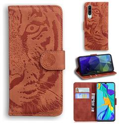 Intricate Embossing Tiger Face Leather Wallet Case for Huawei P30 - Brown