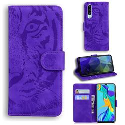 Intricate Embossing Tiger Face Leather Wallet Case for Huawei P30 - Purple
