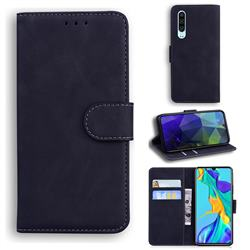 Retro Classic Skin Feel Leather Wallet Phone Case for Huawei P30 - Black
