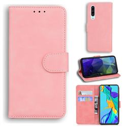 Retro Classic Skin Feel Leather Wallet Phone Case for Huawei P30 - Pink