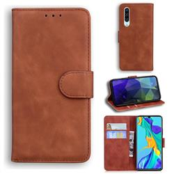 Retro Classic Skin Feel Leather Wallet Phone Case for Huawei P30 - Brown