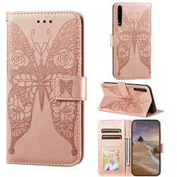 Intricate Embossing Rose Flower Butterfly Leather Wallet Case for Huawei P30 - Rose Gold