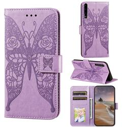Intricate Embossing Rose Flower Butterfly Leather Wallet Case for Huawei P30 - Purple