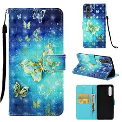 Gold Butterfly 3D Painted Leather Wallet Case for Huawei P30