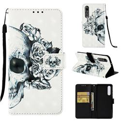Skull Flower 3D Painted Leather Wallet Case for Huawei P30