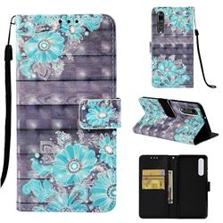 Blue Flower 3D Painted Leather Wallet Case for Huawei P30