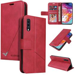 GQ.UTROBE Right Angle Silver Pendant Leather Wallet Phone Case for Huawei P30 - Red