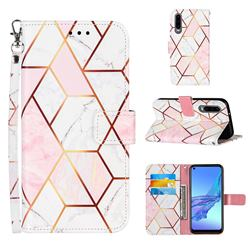 Pink White Stitching Color Marble Leather Wallet Case for Huawei P30