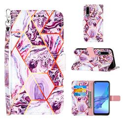 Dream Purple Stitching Color Marble Leather Wallet Case for Huawei P30