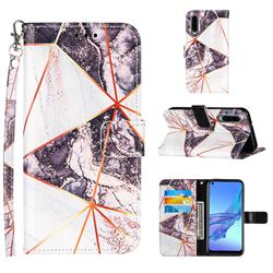 Black and White Stitching Color Marble Leather Wallet Case for Huawei P30