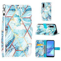 Lake Blue Stitching Color Marble Leather Wallet Case for Huawei P30