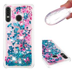 Blue Plum Blossom Dynamic Liquid Glitter Quicksand Soft TPU Case for Huawei P30 Lite