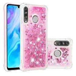 Dynamic Liquid Glitter Sand Quicksand TPU Case for Huawei P30 Lite - Pink Love Heart