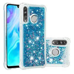 Dynamic Liquid Glitter Sand Quicksand TPU Case for Huawei P30 Lite - Blue Love Heart
