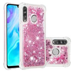 Dynamic Liquid Glitter Sand Quicksand Star TPU Case for Huawei P30 Lite - Diamond Rose