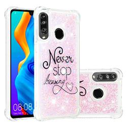 Never Stop Dreaming Dynamic Liquid Glitter Sand Quicksand Star TPU Case for Huawei P30 Lite