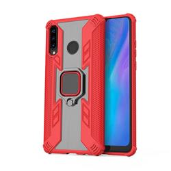 Predator Armor Metal Ring Grip Shockproof Dual Layer Rugged Hard Cover for Huawei P30 Lite - Red