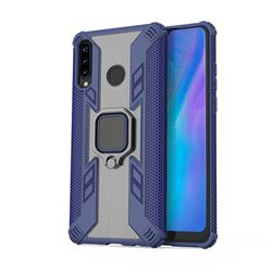 Predator Armor Metal Ring Grip Shockproof Dual Layer Rugged Hard Cover for Huawei P30 Lite - Blue