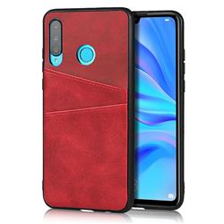Simple Calf Card Slots Mobile Phone Back Cover for Huawei P30 Lite - Red