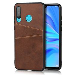 Simple Calf Card Slots Mobile Phone Back Cover for Huawei P30 Lite - Coffee