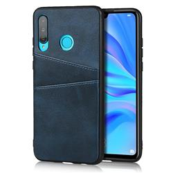 Simple Calf Card Slots Mobile Phone Back Cover for Huawei P30 Lite - Blue