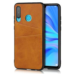 Simple Calf Card Slots Mobile Phone Back Cover for Huawei P30 Lite - Yellow