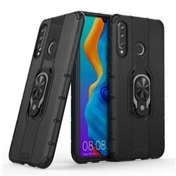 Alita Battle Angel Armor Metal Ring Grip Shockproof Dual Layer Rugged Hard Cover for Huawei P30 Lite - Black