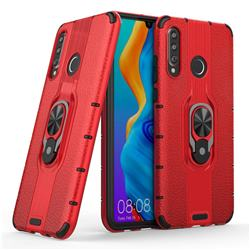 Alita Battle Angel Armor Metal Ring Grip Shockproof Dual Layer Rugged Hard Cover for Huawei P30 Lite - Red