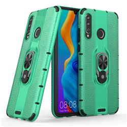 Alita Battle Angel Armor Metal Ring Grip Shockproof Dual Layer Rugged Hard Cover for Huawei P30 Lite - Green
