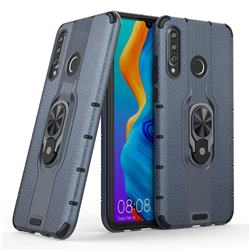Alita Battle Angel Armor Metal Ring Grip Shockproof Dual Layer Rugged Hard Cover for Huawei P30 Lite - Blue
