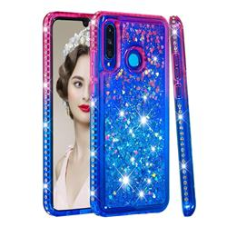 Diamond Frame Liquid Glitter Quicksand Sequins Phone Case for Huawei P30 Lite - Pink Blue