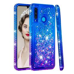 Diamond Frame Liquid Glitter Quicksand Sequins Phone Case for Huawei P30 Lite - Blue Purple